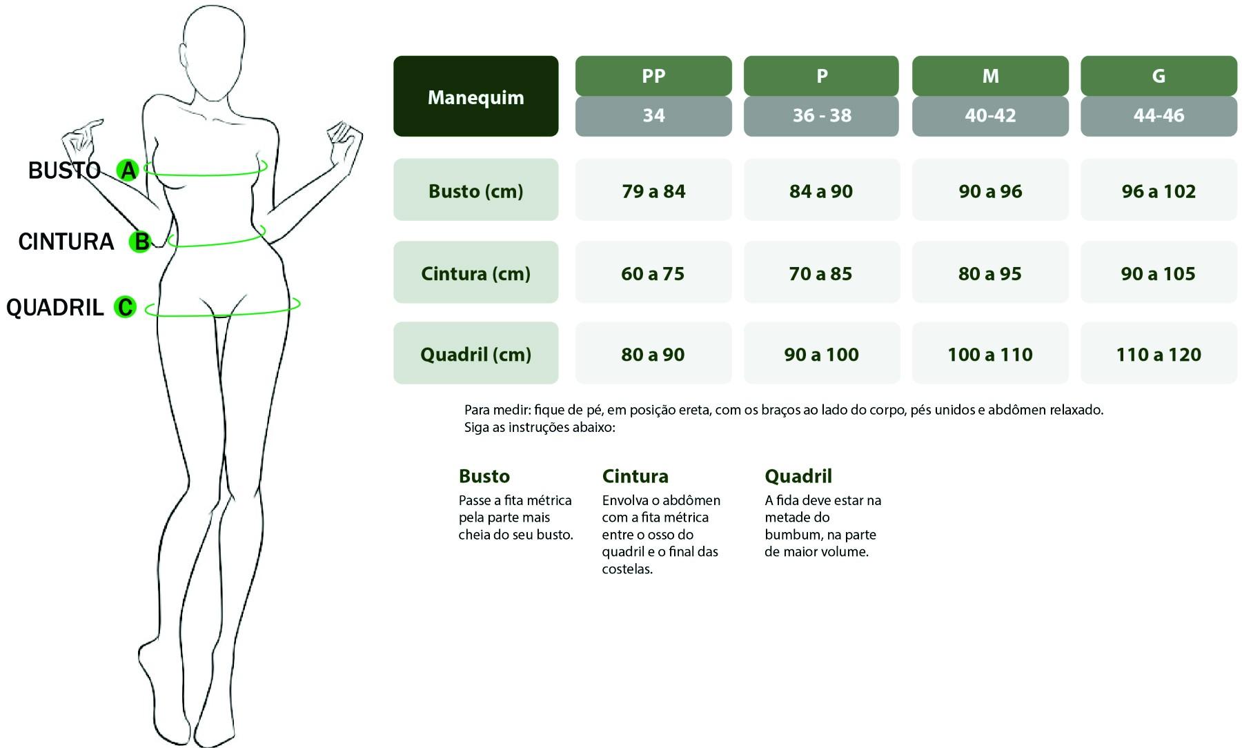 tabela de medidas feminina