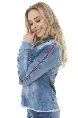 912905 Jaqueta Jeans Feminina com Listra Rosa Neon (Lateral)