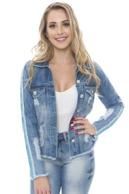 912904 Jaqueta Jeans Feminina Destroyed com Listra Azul (Frente)