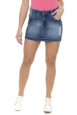 711906 Saia Jeans Feminina com Detalhe em Strass (Frente)