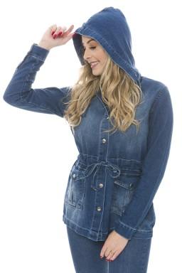 912901 Parka Jeans Feminina com Capuz (Frente2)