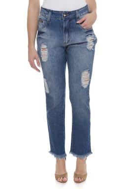 111804 Calça Jeans Feminina Boyfriend Destroyed (Frente2)