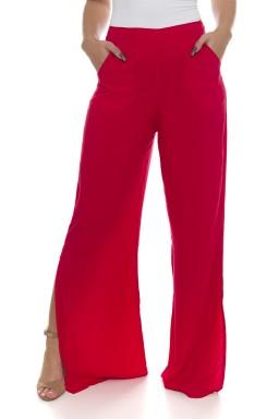 44711900 Calça Pantalona com Fenda Vermelho (Frente)