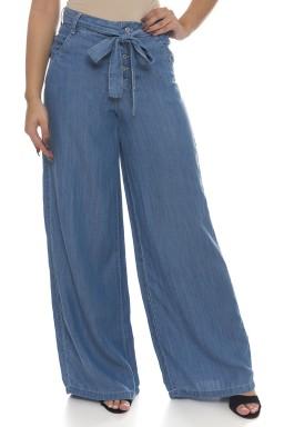 111902 Calça Jeans Feminina Pantalona (Frente)