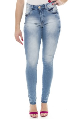 211914 Calça Jeans Skinny Feminina Desfiada com Reserva de Cor (Frente)