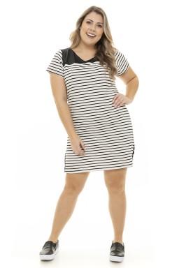 S4911900 Vestido Feminino Plus Size Listrado com Tachas e Fenda Preto e Branco (Frente2)