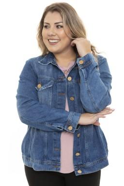 9129AR01 Jaqueta Jeans Feminina Plus Size (Frente2)