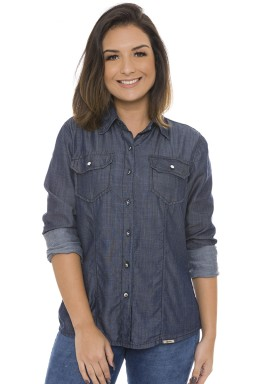 912807 Camisa Jeans Feminina Manga Longa com Bolso Lapela Frontal (Frente)