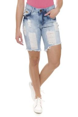 511803 Bermuda Meia Coxa Jeans Feminina Destroyed (Frente1)