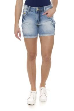 511812 Bermuda Meia Coxa Jeans Feminina com Barra Dobrada  (Frente)