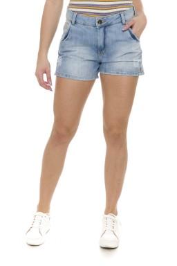511901 Shorts Jeans Feminino com Fenda Lateral e Bolso Faca (Frente)