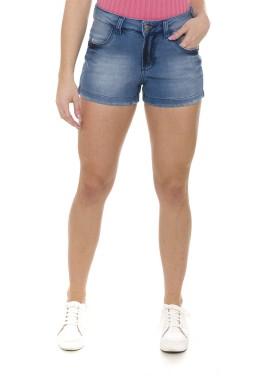 511902 Shorts Jeans Feminino com Puídos na Barra (Frente2)