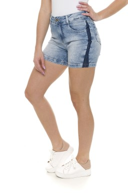 511909 Bermuda Meia Coxa Jeans Feminina com Reserva na Lateral (Lateral)