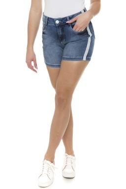 511910  Bermuda Meia Coxa Jeans Feminina com Listra Lateral (Frente1)