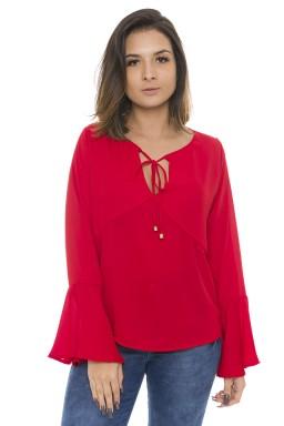 44112912 Blusa Feminina Manga Longa em Crepe Vermelho (Frente2)