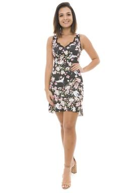 44911922  Vestido Floral com Babado e Detalhe em Renda Preto (Frente2)