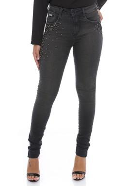 211996 Calça Jeans Feminina Skinny com Pérolas (Frente)