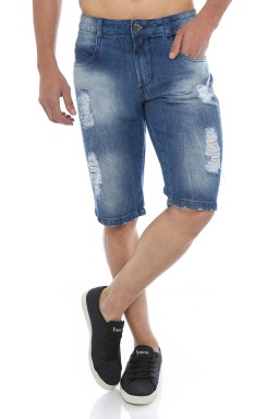 521822 Bermuda Jeans Masculina Destroyed (Frente)