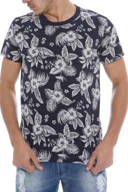 44222000-1 T-shirt Masculina Estampada Marinho (Frente)