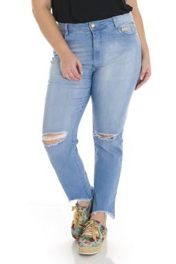 2118AR00 Calça Jeans Skinny Feminina Plus Size Destroyed (Frente)