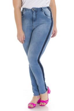 2129AR06 Calça Jeans Feminina Skinny Plus Size com Reserva de Cor (Frente1)