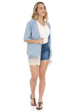 811905 Kimono Jeans Feminino com Pérolas (Frente)