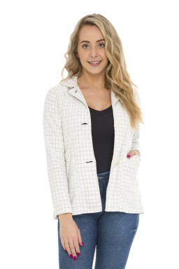 44512933 Blazer Comprido Tweed Chanel com Pérolas-Off White (Frente)