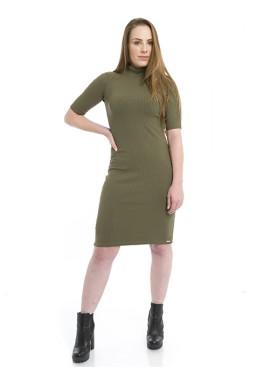 44912907 Vestido Midi Gola Alta Verde Militar (frente)