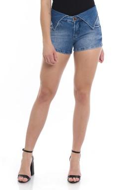 1612008  Shorts Jeans com Cós Dobrável (Frente)