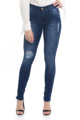 1212008 Calça Jeans Feminina Skinny Escura Barra Desfiada (Frente)