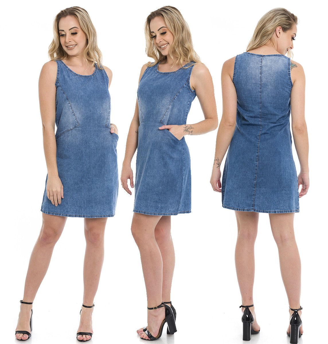 1712014 Vestido Jeans com Bolso Frontal (Completa)