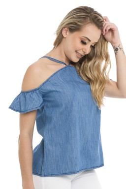 811822  Blusa Jeans Open Shoulder Alcinha (Lateral)