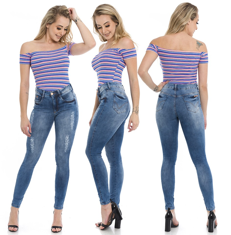 1212000  Calça Jeans Skinny Feminina Fancy (Completa)