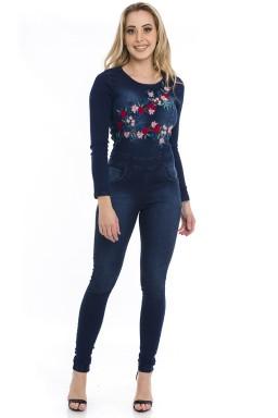 712701  Macacão Jeans Feminino Skinny (Frente)