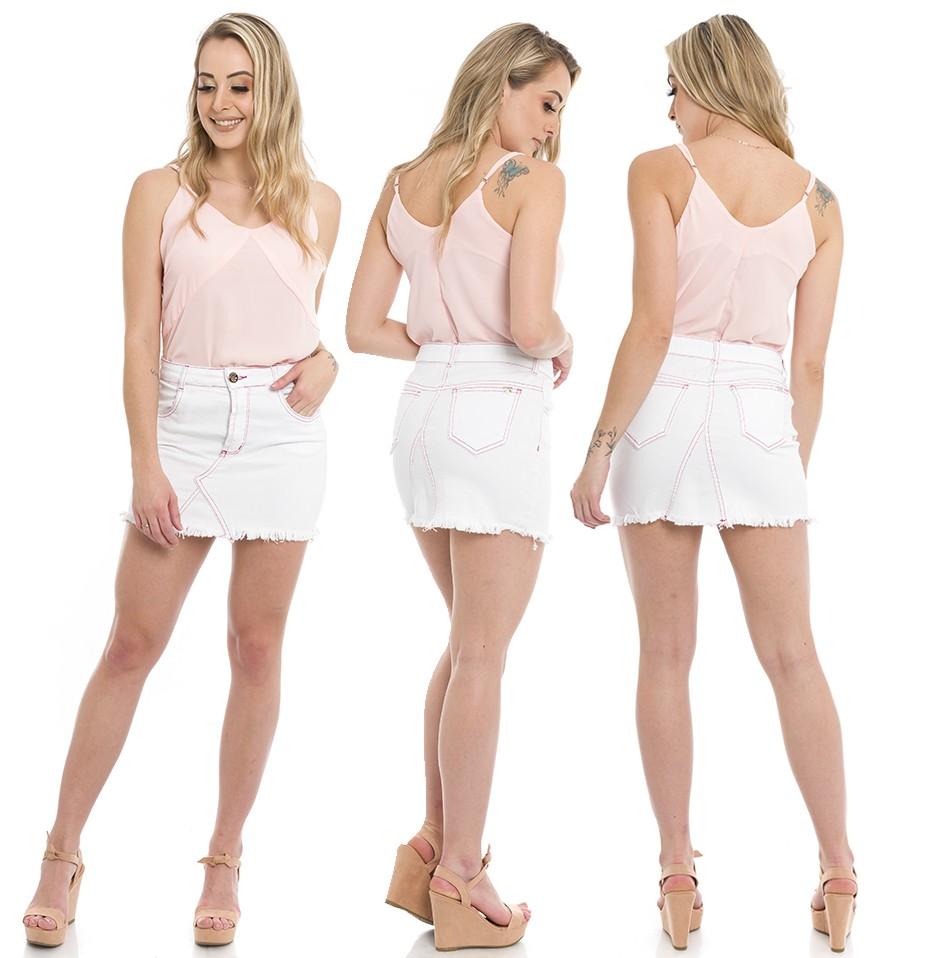 711907  Saia Jeans com Recortes Branco (Completa)