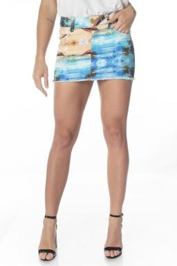 711515  Mini Saia Jeans Estampa Praia (Frente)