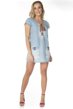 711707  Vestido Jeans com Ilhós (Frente)