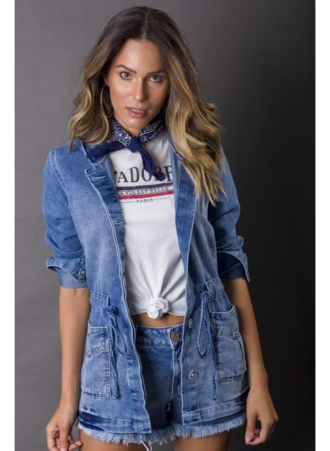 913002 Parka Jeans Feminina com Capuz (Frente2)
