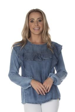 812803 Blusa Jeans com Babado (Frente2)