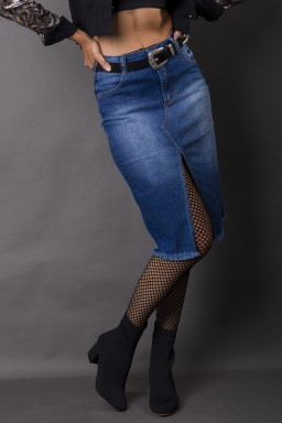 713010 Saia Jeans Midi com Fenda (Frente1)