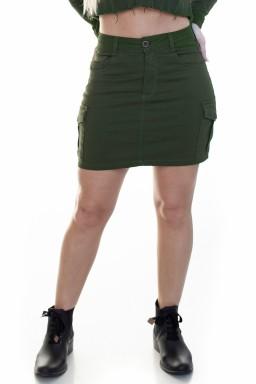 713023028 Saia Jeans Cargo Verde Militar (Frente)