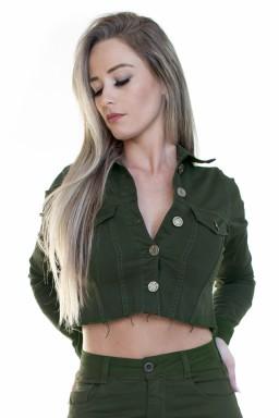 913010028 Jaqueta Cropped Desfiada Verde Militar (Frente)