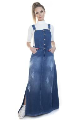 713018 Jardineira Saia Longa Jeans (Frente)