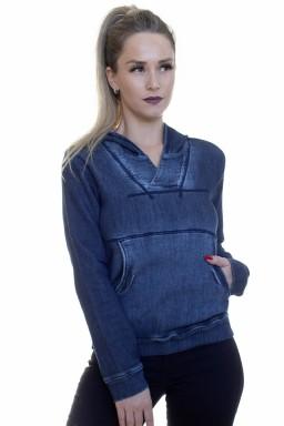 912723 Casaco Moletom Jeans Feminino (Frente)