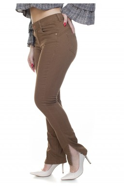213024048 Calça Jeans Feminina Fenda Lateral Castanho (Lateral1)