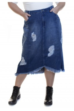 7130AR02 Saia Jeans Midi Plus Size Assimétrica (Frente2)