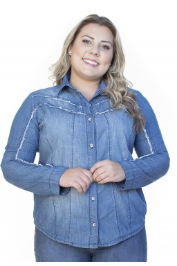 9130AR08 Camisa Jeans Feminina Manga Longa (Frente2)