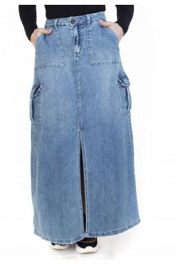 713024 Saia Jeans Longa Cargo (Frente2)