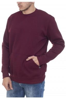 44523001017 Casaco de Moletom Masculino com Bolso Bordo (Frente)