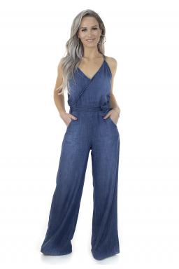 711917 Macacão Jeans Pantalona Feminino (Frente1)